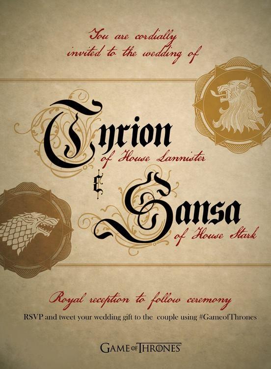 INVITACION A LA BODA TYRION Y SANSA