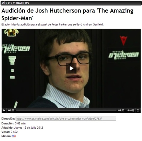 AUDICION SPIDERMAN - JOSH HUTCHERSON