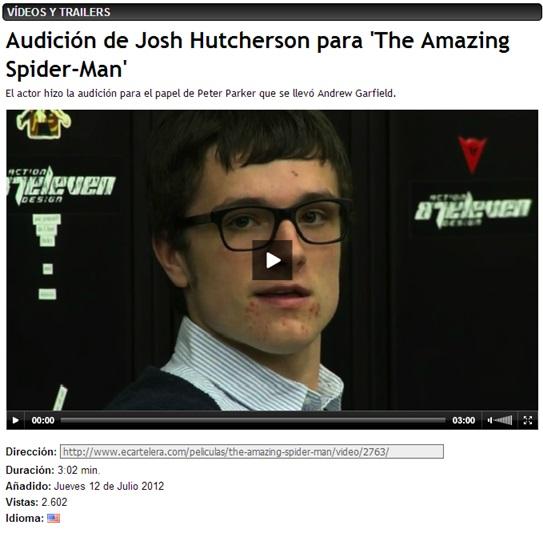 AUDICION SPIDERMAN - JOSH HUTCHERSON