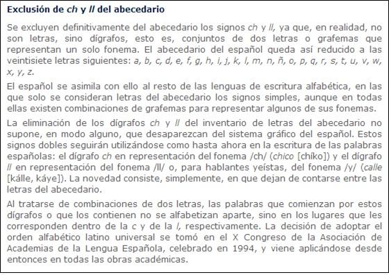 EXCLUSION DE LA CH Y LA LL