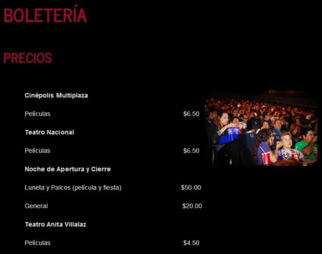 FESTIVAL DE CINE INTERNACIONAL - boletería